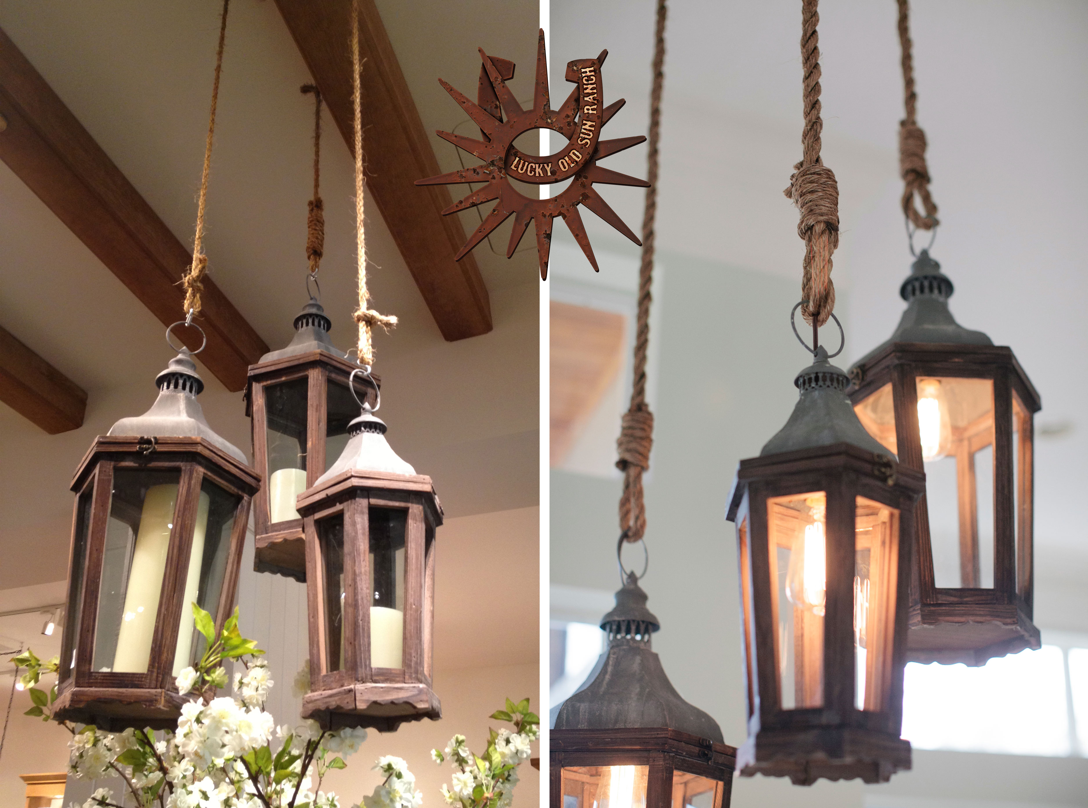 Lantern and Rope Chandelier   Pottery Barn   Lucky Old Sun ...